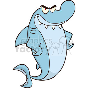 Royalty Free RF Clipart Illustration Angry Shark Cartoon Character clipart. Royalty-free image # 395366