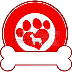 Royalty Free RF Clipart Illustration Veterinary Red Circle Label Design With Love Paw Dog And Bone