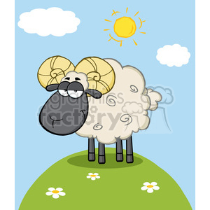 Royalty Free RF Clipart Illustration Cute Black Head Ram Sheep Cartoon Mascot Character On A Hill clipart. Royalty-free image # 395386