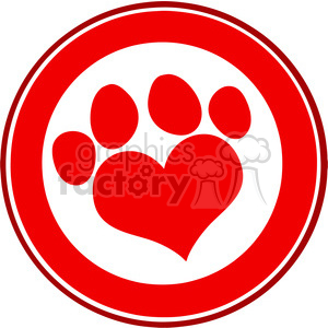Royalty Free RF Clipart Illustration Love Paw Print Red Circle Banner Design clipart. Commercial use image # 395396