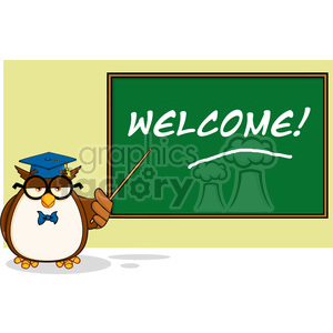 Illustration Wise Owl Teacher Cartoon Mascot Character In Front Of School Chalk Board With Text clipart. Royalty-free image # 395406