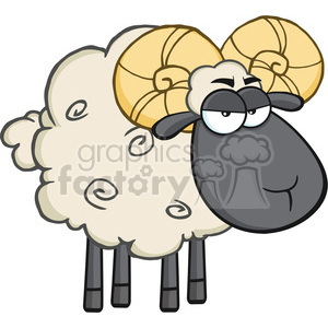 Royalty Free RF Clipart Illustration Angry Black Head Ram Sheep Cartoon Mascot Character clipart. Royalty-free image # 395416