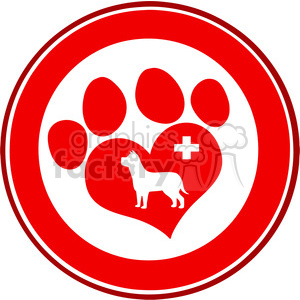 Royalty Free RF Clipart Illustration Veterinary Love Paw Print Red Circle Banner Design With Dog And Cross