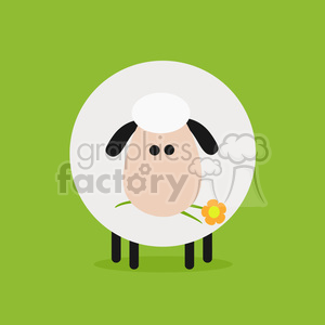 8220 Royalty Free RF Clipart Illustration Cute White Sheep With A Flower Modern Flat Design Vector Illustration clipart. Royalty-free image # 395456
