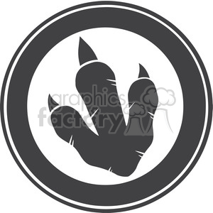 8775 Royalty Free RF Clipart Illustration Dinosaur Paw Print Circle Label Design Vector Illustration