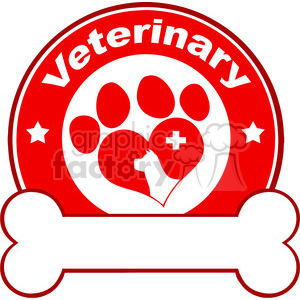 Royalty Free RF Clipart Illustration Veterinary Red Circle Label Design With Love Paw Dog Bone Under Text clipart. Commercial use image # 395476