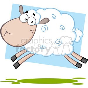 7103 Royalty Free RF Clipart Illustration White Sheep Cartoon Mascot Character Jumping clipart. Royalty-free image # 395496