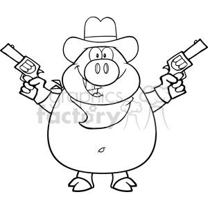 Royalty Free RF Clipart Illustration Black And White Cowboy Pig Cartoon Character Holding Up Two Revolvers clipart. Commercial use image # 395556