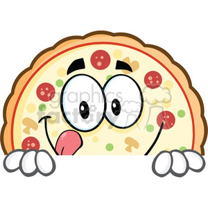 Funny Pizza Cartoon Mascot Character clipart. Royalty-free image # 395606