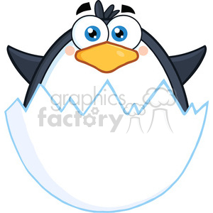 Royalty Free RF Clipart Illustration Surprise Baby Penguin Out Of An Egg Shell clipart. Royalty-free image # 395686