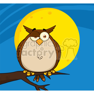 Royalty Free RF Clipart Illustration Owl On Tree In The Night clipart. Royalty-free image # 395706