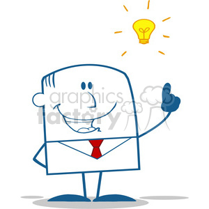 Royalty Free RF Clipart Illustration Happy Businessman With A Bright Idea Monochrome Cartoon Character clipart. Royalty-free image # 395716