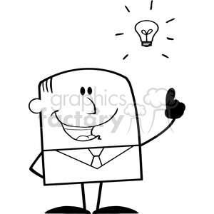 Royalty Free RF Clipart Illustration Black And White Happy Businessman With A Bright Idea Cartoon Character