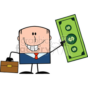 Royalty Free RF Clipart Illustration Lucky Businessman With Briefcase Holding A Dollar Bill Cartoon Character