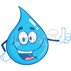 Royalty Free RF Clipart Illustration Happy Water Drop Character Giving A Thumb Up clipart. Royalty-free image # 395776