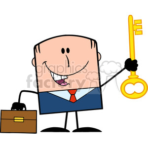 Royalty Free RF Clipart Illustration Happy Businessman With Briefcase Holding A Golden Key Cartoon Character clipart. Royalty-free image # 395786