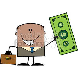 Royalty Free RF Clipart Illustration Lucky African American Businessman With Briefcase Holding A Dollar Bill Cartoon Character clipart. Royalty-free image # 395806
