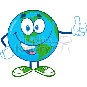 Royalty Free RF Clipart Illustration Earth Cartoon Mascot Character Showing Thumbs Up