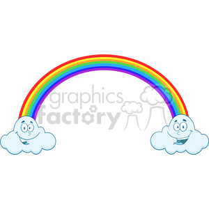 Royalty Free RF Clipart Illustration Rainbow With Smiling Clouds On The Ends clipart. Commercial use image # 395836