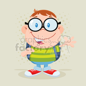 Happy Geek Boy Waving Flat Design clipart. Commercial use image # 395846