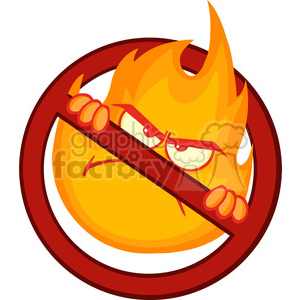 Royalty Free RF Clipart Illustration Stop Fire Sign With Angry Burning Flame Cartoon Mascot Character