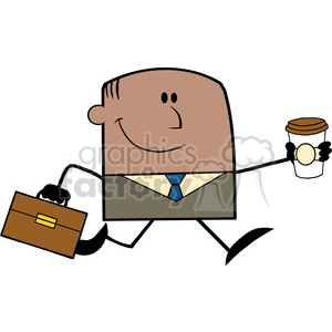 Royalty Free RF Clipart Illustration Lucky African American Businessman Running To Work With Briefcase And Coffee Cartoon Character clipart. Royalty-free image # 395866