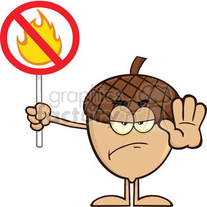 Royalty Free RF Clipart Illustration Angry Acorn Cartoon Mascot Character Holding Up A Fire Stop Sign clipart. Royalty-free image # 395876