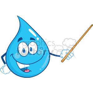 Royalty Free RF Clipart Illustration Water Drop Character Holding A Pointer