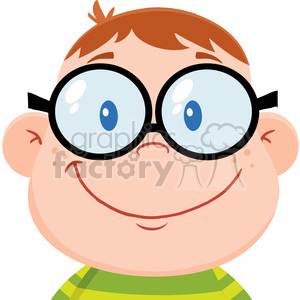 cartoon funny comical silly head face kid boy student smart nerd