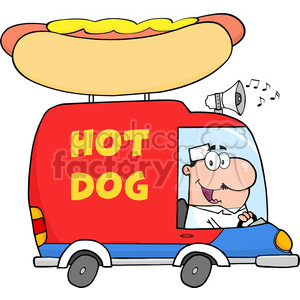Royalty Free RF Clipart Illustration Happy Hot Dog Vendor Driving Truck clipart. Commercial use image # 395906