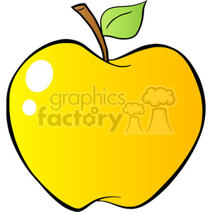 Royalty Free RF Clipart Illustration Cartoon Yellow Apple In Gradient clipart. Royalty-free image # 395916