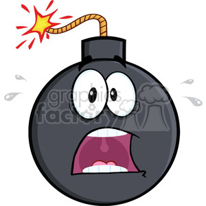 Royalty Free RF Clipart Illustration Scared Bomb Cartoon Character clipart. Royalty-free image # 395926