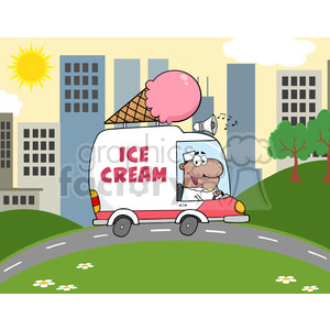 Royalty Free RF Clipart Illustration African American Ice Cream Man Driving Truck In The Town clipart. Royalty-free image # 395946