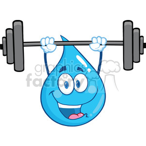Royalty Free RF Clipart Illustration Water Drop Character Lifting Weights clipart. Commercial use image # 395956