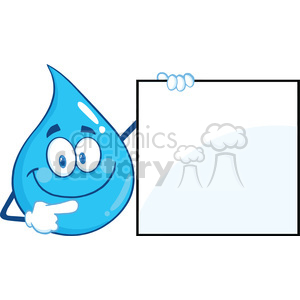 Water Drop Character Showing A Blank Sign clipart. Royalty-free image # 395966