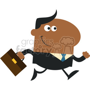 8269 Royalty Free RF Clipart Illustration Smiling African American Manager With Briefcase Running To Work Modern Flat Design Vector Illustration clipart. Royalty-free image # 395976