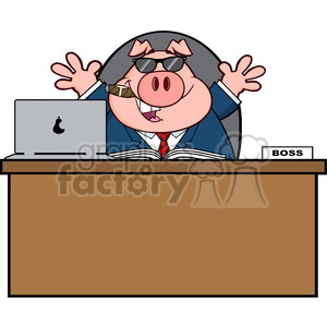 Royalty Free RF Clipart Illustration Businessman Pig Cartoon With Sunglasses Cigar Behind Desk clipart. Commercial use image # 395986