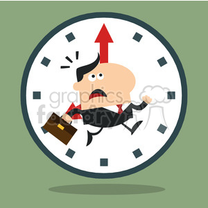 8276 Royalty Free RF Clipart Illustration Hurried Manager Running Past A Clock Modern Flat Design Vector Illustration