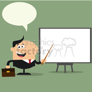 8348 Royalty Free RF Clipart Illustration Happy Manager Pointing To A White Board Flat Style Vector Illustration With Speech Bubble clipart. Commercial use image # 396038