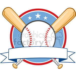 Baseball Banner With Two Bats And Ball clipart. Royalty-free image # 396067