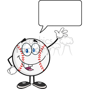 Baseball Ball Cartoon Mascot Character Waving For Greeting With Speech Bubble