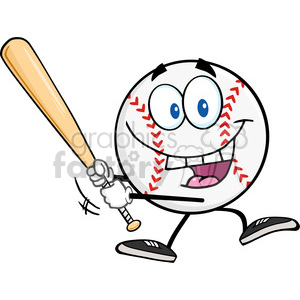Happy Baseball Ball Swinging A Baseball Bat clipart. Commercial use image # 396087