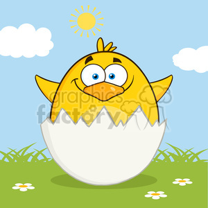 8596 Royalty Free RF Clipart Illustration Surprise Yellow Chick Cartoon Character Out Of An Egg Shell Vector Illustration With Background clipart. Royalty-free image # 396097