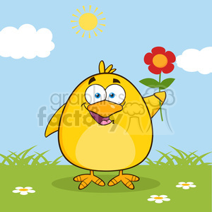 Happy Yellow Chick Cartoon Character With A Red Daisy Flower Vector Illustration With Background clipart. Royalty-free image # 396117