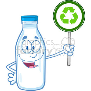 Royalty Free RF Clipart Illustration Cute Milk Bottle Character Holding A Recycle Sign clipart. Commercial use image # 396147