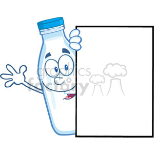 Royalty Free RF Clipart Illustration Smiling Milk Bottle Cartoon Mascot Character Looking Around A Blank Sign And Waving clipart. Commercial use image # 396167