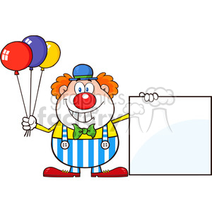 Royalty Free RF Clipart Illustration Funny Clown Cartoon Character With Balloons Showing A Blank Sign clipart. Commercial use image # 396177