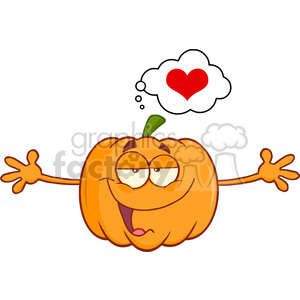 Funny Halloween Jackolantern Pumpkin Cartoon Mascot Character With Open Arms For Hugging And Speech Bubble With Heart