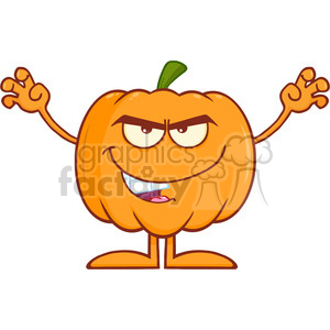 Royalty Free RF Clipart Illustration Scaring Halloween Pumpkin Cartoon Mascot Character