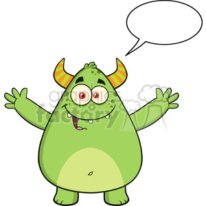 8930 Royalty Free RF Clipart Illustration Happy Horned Green Monster Cartoon Character With Welcoming Open Arms And Speech Bubble Vector Illustration Isolated On White clipart. Royalty-free image # 396257